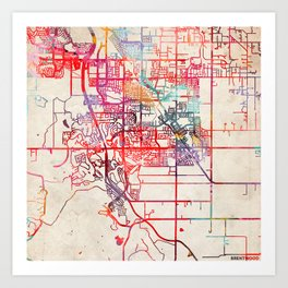 Brentwood map California CA Art Print