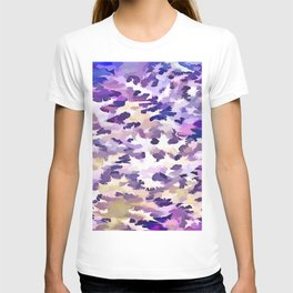 Foliage Abstract Camouflage In Pale Purple and Violet Pastels T-shirt