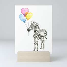 Zebra Watercolor With Heart Shaped Balloons Mini Art Print