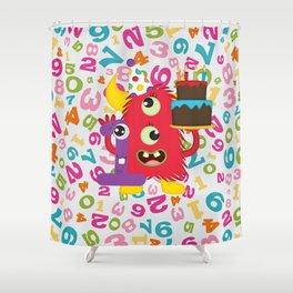 Birthday Monster 1st Birthday Shower Curtain