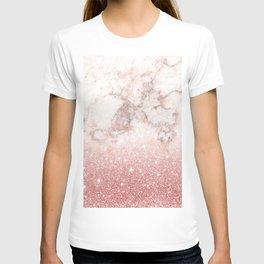 Elegant Faux Rose Gold Glitter White Marble Ombre T-shirt