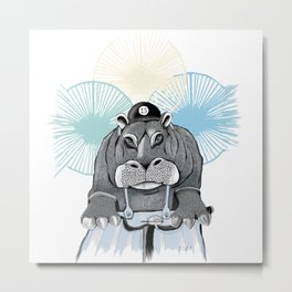 Hippo on bike Metal Print