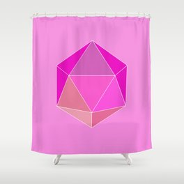 Geometric art, pink icosahedron. Shower Curtain