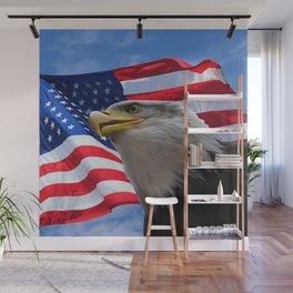 American Flag and Bald Eagle Wall Mural
