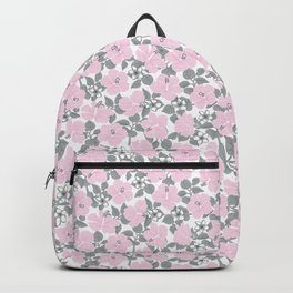 Hibiscus and Plumeria Pink-Gray Backpack