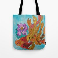 koi fish Tote Bags featuring Koi Fish by DaeChristine