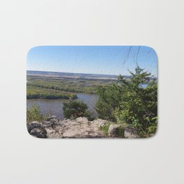 Panoramic view of the Upper Mississippi River, looking into MN from Buena Vista Park, Alma, WI Bath Mat