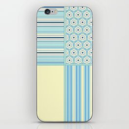 Summer Blues and Yellow Multi Pattern Design iPhone Skin