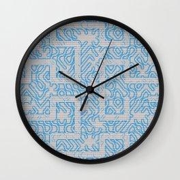 Blue Needlepoint Maze Wall Clock