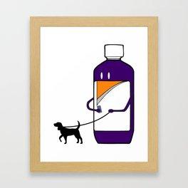 Codeine Bottle Walking the Dog Framed Art Print