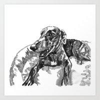 greyhound Art Prints featuring greyhound by Jenn Steffey