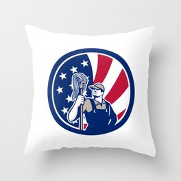 American Industrial Cleaner USA Flag Icon Throw Pillow