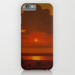 Red Coastal Beach Sunset landscape painting iPhone Case
