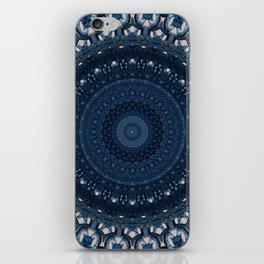 Mandala in light and dark blue tones iPhone Skin