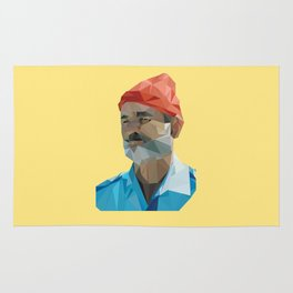 Steve Zissou low poly portrait Rug