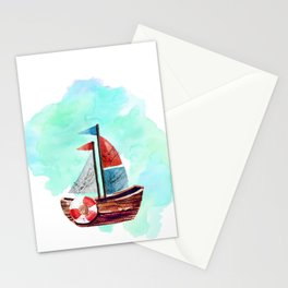 Ship in the Watercolor Stationery Cards
