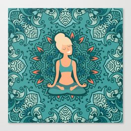 Beautiful girl in the lotus position on the mat for yoga. Vector colored illustration on the mandala Canvas Print