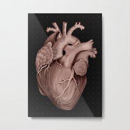 Anatomical Human Heart - Black and Old Rose Metal Print