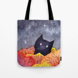 Starry Autumn Cat Watercolor Tote Bag