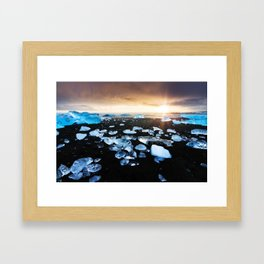 Fire and Ice Black Sand Sunset, Coastal Landscape Photograph Framed Art Print