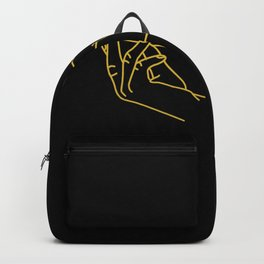 Minimalist Woman Hand Art, Touching Hands Line Art  Backpack