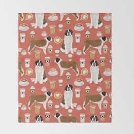 Saint Bernard coffee dog breed pattern pet friendly pet portraits dog art Throw Blanket