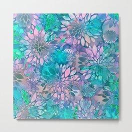Painted Background Floral Pattern Metal Print