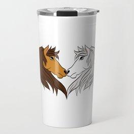 Simple Horsing Tee For Horse Lovers With Illustration Of 2 Horses Making Heart T-shirt Design  Travel Mug