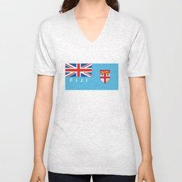 Fiji country flag name text Unisex V-Neck