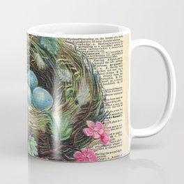 Bird Nest on Dictionary Page Coffee Mug