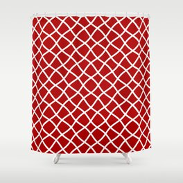 Classic red and white curved grid pattern Shower Curtain