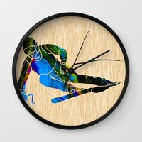 skiing Wall Clocks featuring Skiing by marvinblaine
