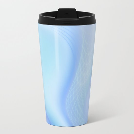 Soft Blue Wave Metal Travel Mug