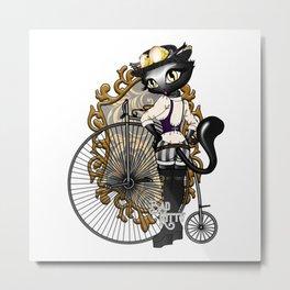 Steampunk Bad Kitty Metal Print