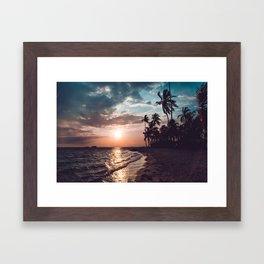 Sunset beach. San Blas, Panama Framed Art Print