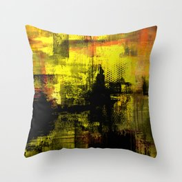 Sail Away - Abstract painting of a boat sailing into the horizon Throw Pillow