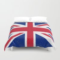 british flag Duvet Covers featuring British flag mosaic by Zora Zora