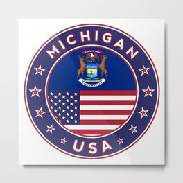 Michigan, USA States, Michigan t-shirt, Michigan sticker, circle Metal Print