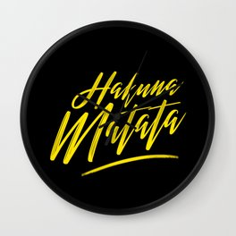 Hakuna Matata (Yellow on Black) Wall Clock
