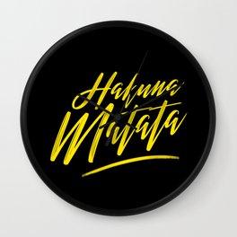 Hakuna Matata (Yellow on Black) Wall Clock