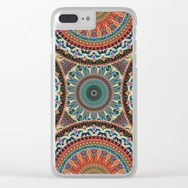 Colorful abstract ethnic floral mandala pattern Clear iPhone Case