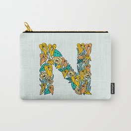 Floral Type - Letter N - Neutral Blue Green and Orange Carry-All Pouch