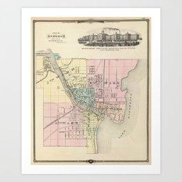 Vintage Map of Oshkosh WI (1878) Art Print