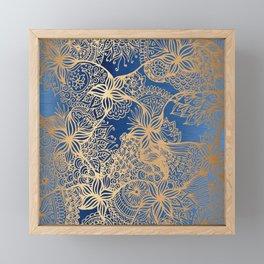Blue and Gold Zen Doodles Framed Mini Art Print