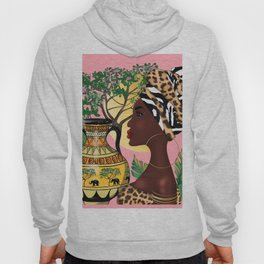 African woman,vase ,fashion art ,pink background ,round earrings. Hoody