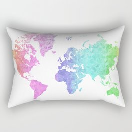 """Rainbow world map in watercolor style """"Jude"""" Rectangular Pillow"""