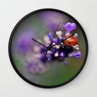 ladybug Wall Clocks featuring Ladybug by Nathalie Photos