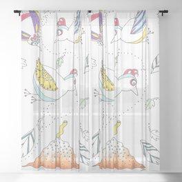 Whimsical Birds & Worm Sheer Curtain