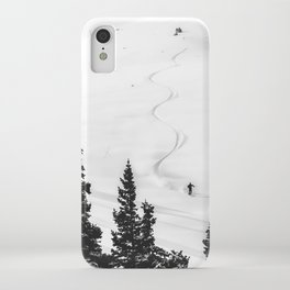 Backcountry Skier // Fresh Powder Snow Mountain Ski Landscape Black and White Photography Vibes iPhone Case