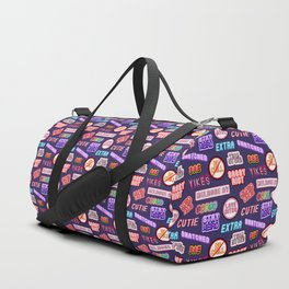 """""""No chill"""" pattern (patches, stickers """"scream queen"""", """"cutie"""", """"bae"""", """"wicked"""", etc) Duffle Bag"""